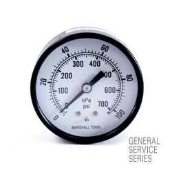 "Marsh General Service Pressure Gauge 2.5"", 100 PSI/KPa"