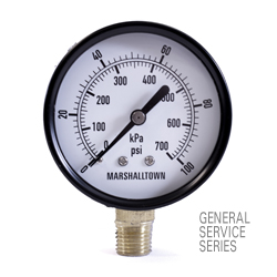 "Marsh General Service Pressure Gauge 2.5"", 400 PSI/KPa"