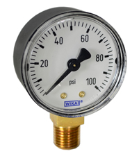 "WIKA Commercial Pressure Gauge 2"", 100 PSI"