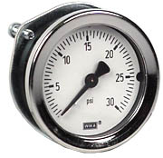 "WIKA Commercial Panel Mount Gauge 1.5"", 30 PSI"