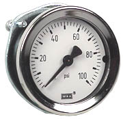 "WIKA Commercial Panel Mount Gauge 1.5"", 100 PSI"