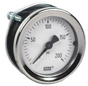 "WIKA Commercial Panel Mount Gauge 1.5"", 200 PSI"