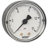 """WIKA Commercial Pressure Gauge 2"""", 15 PSI, 1/4"""" NPT"""