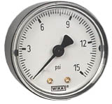 "Commercial Pressure Gauge 2"", 15 PSI, 1/8"" NPT"