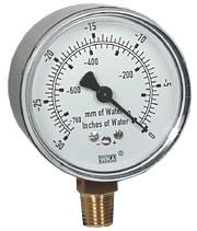 """WIKA Low Pressure Vacuum Gauge 2.5"""", 0-30"""" H2O"""