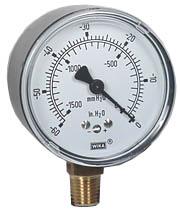 """Low Pressure Vacuum Gauge 2.5"""", 0-60"""" H2O"""