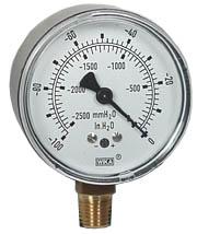 """Low Pressure Vacuum Gauge 2.5"""", 0-100""""H2O"""
