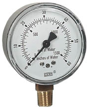 "WIKA Low Pressure Gauge 2.5"", 0-60"" H2O"