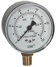 "WIKA Low Pressure Gauge 2.5"", 0-100"" H2O"