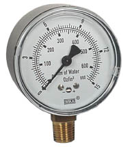 "WIKA Low Pressure Gauge 2.5"", 0-15 OZ/SQ.IN."