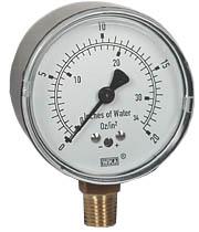 """Low Pressure Gauge 2.5"""", 0-20 OZ/SQ.IN."""