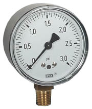 "WIKA Low Pressure Gauge 2.5"", 0-3 PSI"