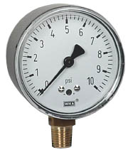 "WIKA Low Pressure Gauge 2.5"", 0-10 PSI"