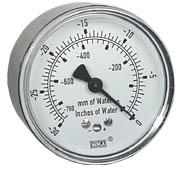 """Low Pressure Vacuum Gauge 2.5"""", 0-30"""" H2O"""
