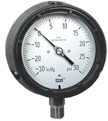 "WIKA Process Compound Gauge 4.5"", 30""Hg-0-30 PSI, Liquid Filled"