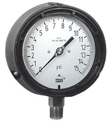 "Process Pressure Gauge 4.5"", 15 PSI, Liquid Filled"