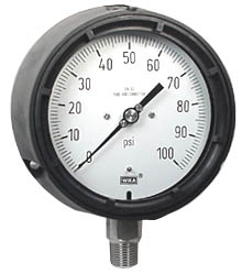 "WIKA Process Pressure Gauge 4.5"", 100 PSI, Liquid Filled"