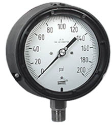 "WIKA Process Pressure Gauge 4.5"", 200 PSI, Liquid Filled"
