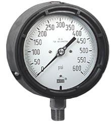 "Process Pressure Gauge 4.5"", 600 PSI, Liquid Filled"