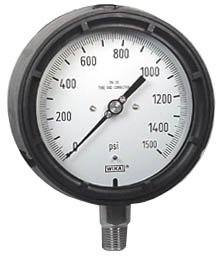 "WIKA Process Pressure Gauge 4.5"", 1500 PSI, Liquid Filled"