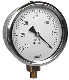 """WIKA Industrial Vacuum Gauge 4"""", 30""""Hg"""