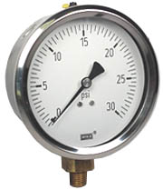 "WIKA Industrial Pressure Gauge 4"", 30 PSI"