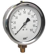 """Industrial Pressure Gauge 4"""", 100 PSI"""