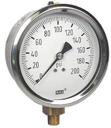 "WIKA Industrial Pressure Gauge 4"", 200 PSI"