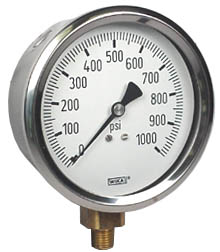 "Industrial Pressure Gauge 4"", 1000 PSI"