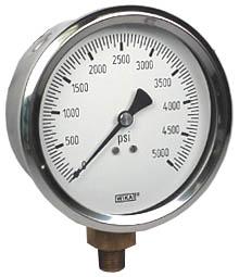 """Industrial Pressure Gauge 4"""", 5000 PSI"""
