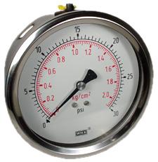 """Industrial Pressure Gauge 4"""", 30 PSI"""