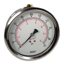 "Industrial Pressure Gauge 4"", 200 PSI"