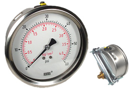 "U-Clamp Panel Mount Pressure Gauge 4"", 60 PSI"