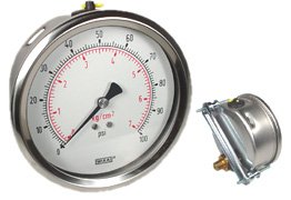 "WIKA U-Clamp Panel Mount Pressure Gauge 4"", 100 PSI"