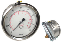 "U-Clamp Panel Mount Pressure Gauge 4"", 160 PSI"