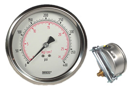 "U-Clamp Panel Mount Pressure Gauge 4"", 400 PSI"