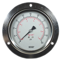 "WIKA Front Flange Panel Mount Gauge 4"", 100 PSI"