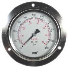 "WIKA Front Flange Panel Mount Gauge 4"", 1000 PSI"