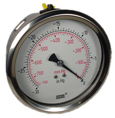 "WIKA Industrial Vacuum Gauge 4"", 30""Hg, Liquid Filled"