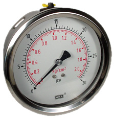 "WIKA Industrial Pressure Gauge 4"", 30 PSI, Liquid Filled"