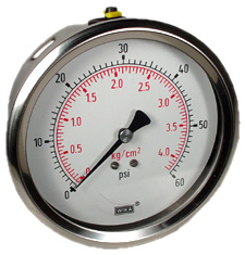 "Industrial Pressure Gauge 4"", 60 PSI, Liquid Filled"