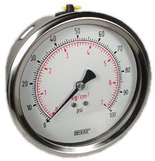 "Industrial Pressure Gauge 4"", 100 PSI, Liquid Filled"
