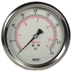 "WIKA Industrial Pressure Gauge 4"", 400 PSI, Liquid Filled"