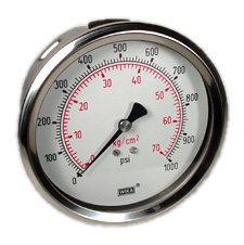 "WIKA Industrial Pressure Gauge 4"", 1000 PSI, Liquid Filled"