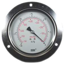 "WIKA Panel Mount Vacuum Gauge 4"", 30""Hg, Liquid Filled"
