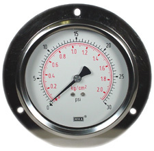 "Panel Mount Gauge 4"", 30 PSI, Liquid Filled"