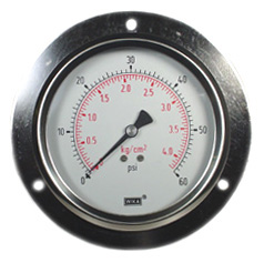 "WIKA Panel Mount Gauge 4"", 60 PSI, Liquid Filled"