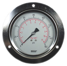 "WIKA Panel Mount Gauge 4"", 160 PSI, Liquid Filled"