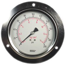 "WIKA Panel Mount Gauge 4"", 200 PSI, Liquid Filled"