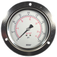 "Panel Mount Gauge 4"", 400 PSI, Liquid Filled"